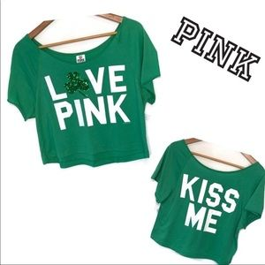 Victoria's Secret Pink Cropped T-Shirt green small